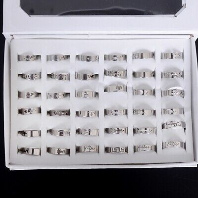 50/100Pcs Mixed Wholesale Silver Stainless Steel Rings Bulk Ring Band Jewelry