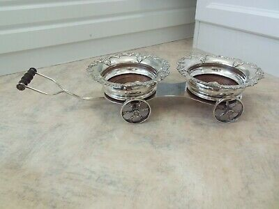 Antique Silver Plated Double Wagon Wine Decanter Trolley Jolly Boat J Pinder &Co