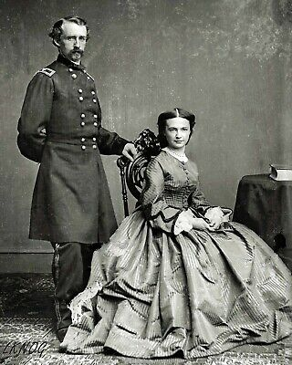 8 by 10 Civil War Photo Print General George Custer, Wife Libby
