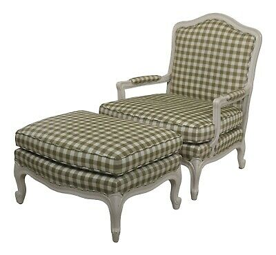 31090EC: Custom Upholstered French Style Bergere Chair & Ottoman
