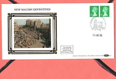 GB Machin  FDC 14/1/86 New Defins 12p Left & Right Bands P/M Windsor phi Counter