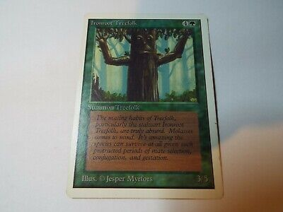 MAGIC THE GATHERING UNLIMITED CARD IRONROOT TREEFOLK, ex-nm