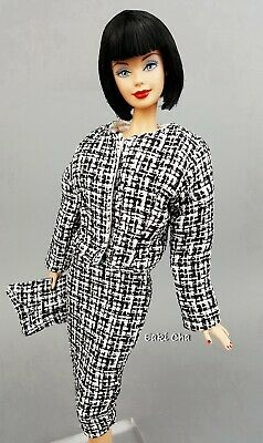 Eaki Black Dress Coat Outfit FoR Silkstone Vintage Repro Fashion Royalty FR Doll