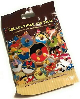 Disney Parks Disney Donuts Collectible Mystery 5 Pin Pack Bag Pouch Sealed - NEW