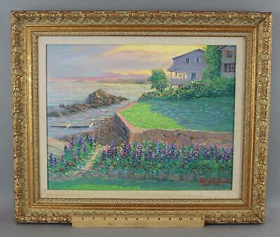 GEORGE BLEICH California Coastal Home & Seascape Expressionist Oil Painting