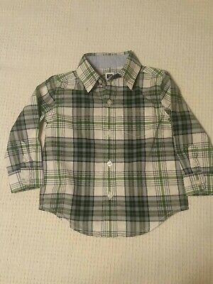 JANIE and  JACK Boys Green Plaid Shirt Size 12-18 Month