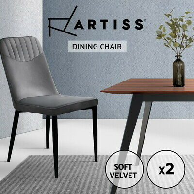 Artiss Dining Chairs Retro Chair Replica Metal Legs High Back Velvet Grey x2