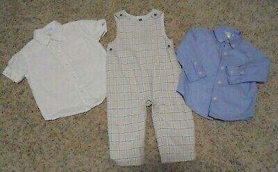 Sz 12-18 Month Janie & Jack Plaid Overalls and 2 matching shirts Classic Baby