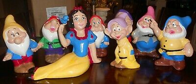 Vintage Ceramic Set Walt Disney Production Snow White & 7 Dwarfs Garden Statues