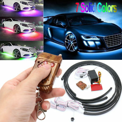 4Pcs 7 Color LED Strip Under Car Tube underglow Underbody System Neon Lights Kit