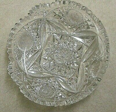 "Beautiful Vtg American Brilliant Cut Glass 6"" Shallow Bowl Square Cut Center"