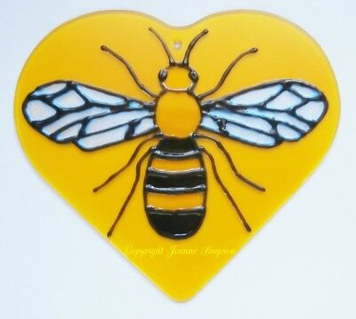 Hand painted Manchester Bee sun catcher