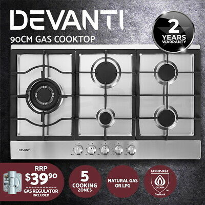 Devanti Gas Cooktop 90cm Kitchen Stove Cooker 5 Burner Stainless Steel NG/LPG