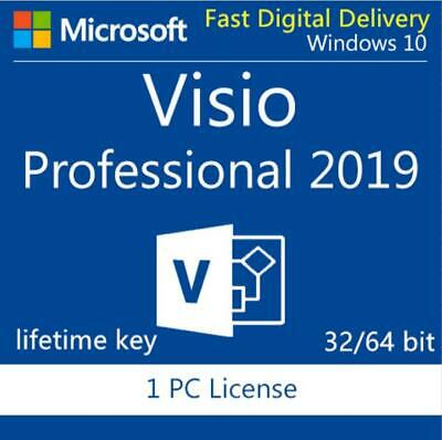Genuine MS Visio 2019 Professional Product Key 32/64 bit instant +Download LINK