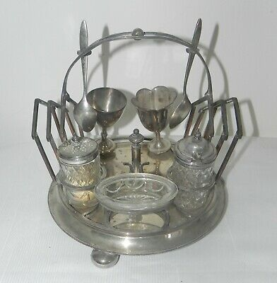 ANTIQUE LATE 1800s JOHN GRINSELL & SONS J G S SILVER PLATED EGG CRUET SET RARE