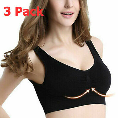 New Seamless Sexy Bra Sports Style Crop Top Vest Support Shapewear Stretch 3PACK