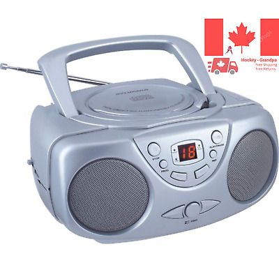 SRCD243M-SILVER Sylvania SRCD243 Portable CD Player with AM FM Radio Boombox ...