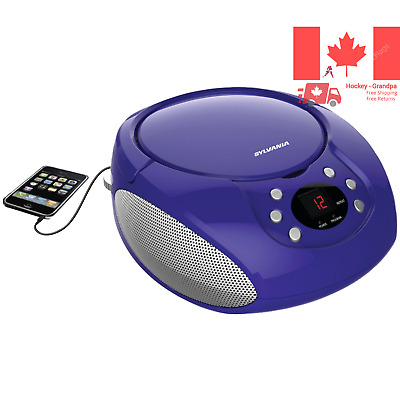 Sylvania Portable CD Boombox with AM FM Radio Purple
