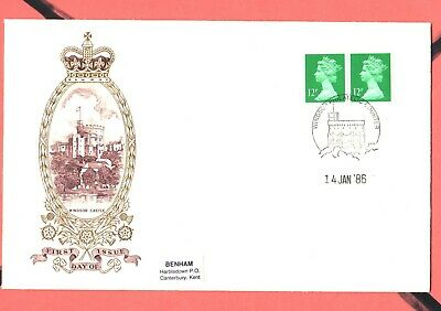 GB Machin  FDC 14/1/86 New Defins 12p Left & Right Bands P/M Windsor  Counter