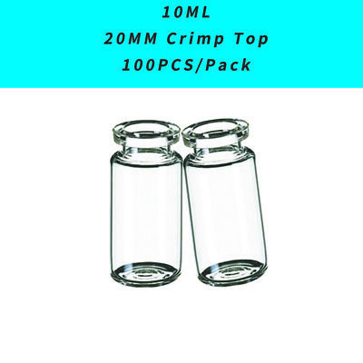 10ML Clear Vials 20mm Crimp Top, Bevelled Edge, Round Bottom, ASTM Type, 100PCS