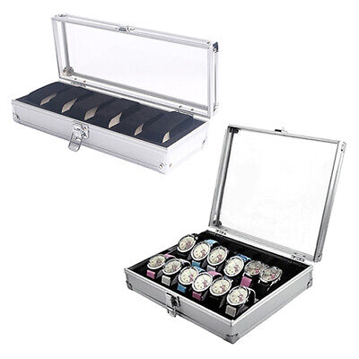 New 6/12 Grids Slots Jewelry Watches Aluminium Alloy Display Box Storage Case