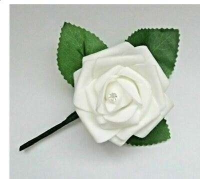 50x WHITE Buttonholes With Rose Leaves, Lapel Clip & Diamante Pin ~ Handmade