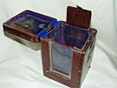 ANTIQUE 1800's LEATHER CARRIAGE CLOCK CASE TRAVEL CASE Complete WITH SLIDE COVER
