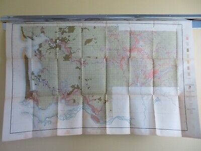 1911 Antique Color Map Washington Oysterville Menlo Winlock Sunshine 42X27 #0504