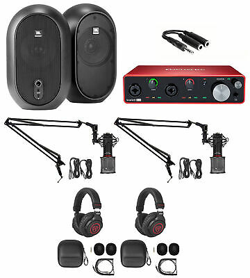 2-Person Podcast Podcasting w/4I4 Focusrite Interface+Headphones+Mics+Boom Arms