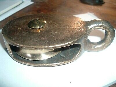 Antique Solid all BRASS -Ship's Pulley - Sm BUT HEAVY - Hardware Nautical Decor