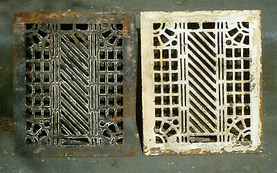 Antique Cast Iron Floor Grate Heat Register MATCHING PAIR Art Deco Louvers Lever
