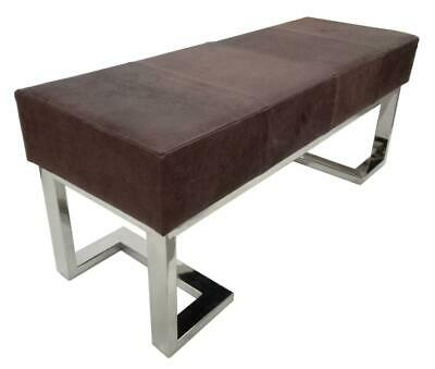 Contemporary Brown Leather Bench - Polished Steel Legs - 110cm Long