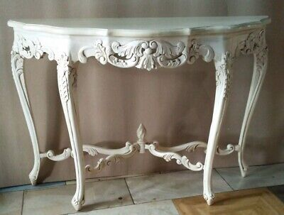 Solid Mahogany French Chateau Style Antique White Carved Console Hall Table