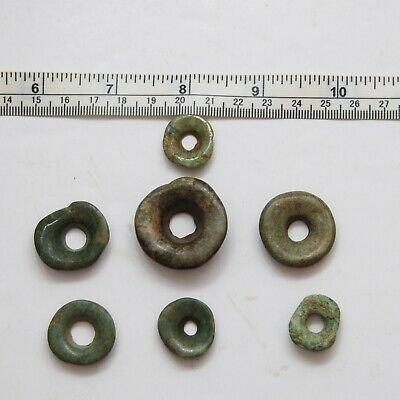 Set of 7_PRE-COLUMBIAN Jade Ear Spools_Beads_5.1 to 10.7mm x 17.7 to 31.2mm