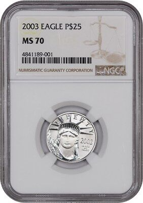 2003 Platinum Eagle NGC MS70 - Statue Liberty 1/4 oz