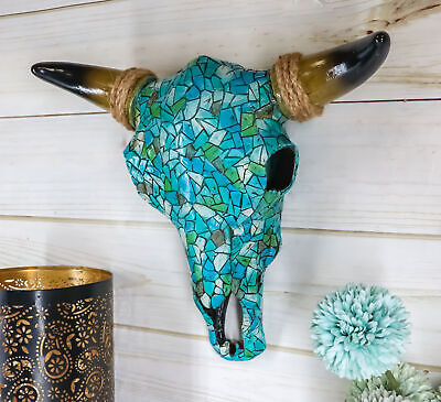 Turquoise Mosaic Steer Bison Buffalo Bull Cow Horned Skull Head Wall Mount Decor