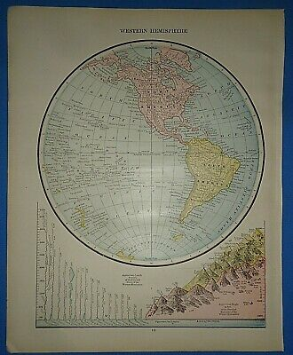 Vintage Circa 1887 WESTERN HEMISPHERE of the WORLD MAP Old Antique Original