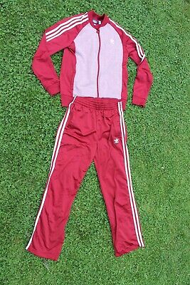ADIDAS Burgundy TRACKSUIT TOP & BOTTOMS Childs/Youths (13-14 Years) VGC