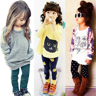 2PCS Child Kids Infant Baby Girl Long Sleeve T-shirt Tops+Pants Outfits Clothes