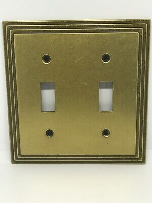 Vintage MCM Art Deco Amertac 8tt Carriage House Brass Double Switch Plate Cover