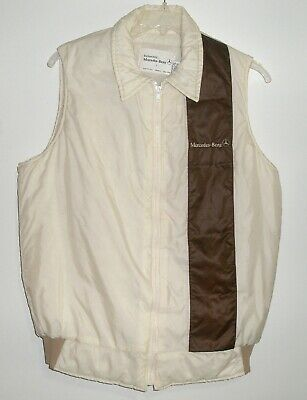 VTG 80's MERCEDES BENZ INSULATED VEST SIZE LARGE Cream color w/ brown stripe EUC