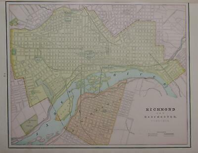 1891 Richmond, Va. Antique Color Atlas Map^ Original 129 years-old!