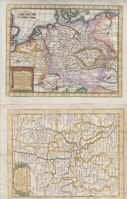 1768 Two Attractive Buffier Maps of the Rhine River & German Empire