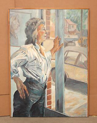 Authentic 1987 FRANCES JACOBSON Oil Painting, Woman Looking Out Glass Door NR