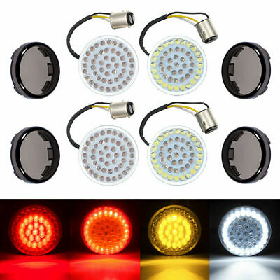 1157 LED Turn Signal Light Inserts With Lens Cover For Harley Touring Fatboy 4X