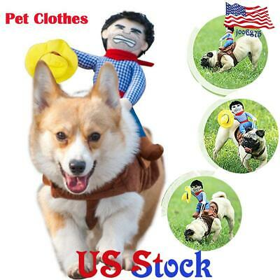 Pet Dress Halloween Holiday Dog Riding Horse Rodeo Cowboy Party Costume Clothes