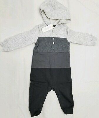 Gymboree Baby Boy Romper Hoodie Long Sleeve One Piece Sz 6-12 Months