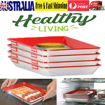 4pcs Food Preservation Tray Storage Container Set Fruit Vegetable Fridge Plate