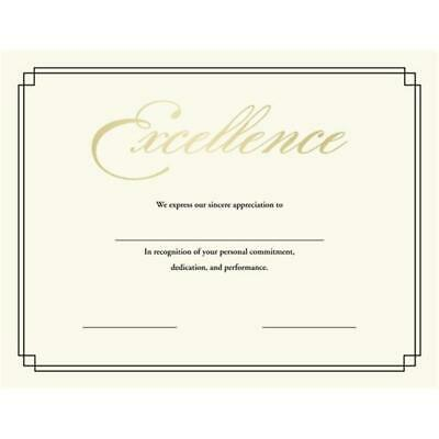 Off White Printable 'Certificate of Excellence' Stationery Gold, Off-White