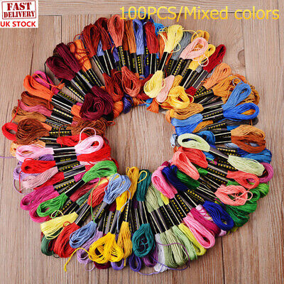 100x8m Mixed Colours Embroidery Thread Cotton Stitch Craft Sew